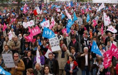 """People attend a protest march called, """"La Manif pour Tous"""" (Demonstration for All) against France's legalisation of same-sex marriage, in Paris"""