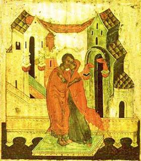 "Icoana justa, numita si ""Conceptia Maicii Domnului"" in care sunt reprezentati Sfiintii Ioachim si Ana"