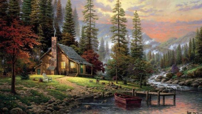 thomas-kincaid-quiet-forest-house-dog-landscape
