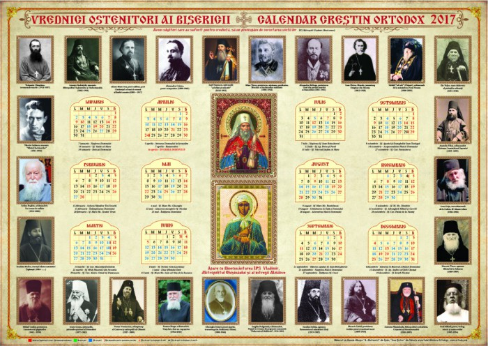 Calendar creştin-ortodox pentru anul 2017 – Vrednicii ostenitori ai ...