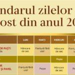 Infografic: Calendarul zilelor de post din anul 2018