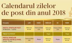 Calendarul zilelor de post din anul 2018