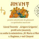 "ADMITERE! Liceul Teoretic ""Grigore Grigoriu"" profil arte (muzică)"